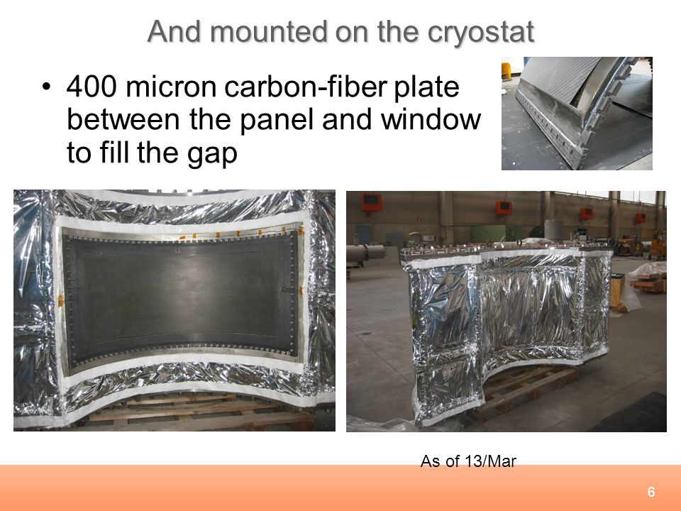 6 And mounted on the cryostat 400 micron carbon-fiber plate between the panel and window to fill the gap As of 13/Mar