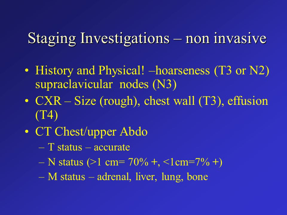Staging Investigations – non invasive History and Physical.