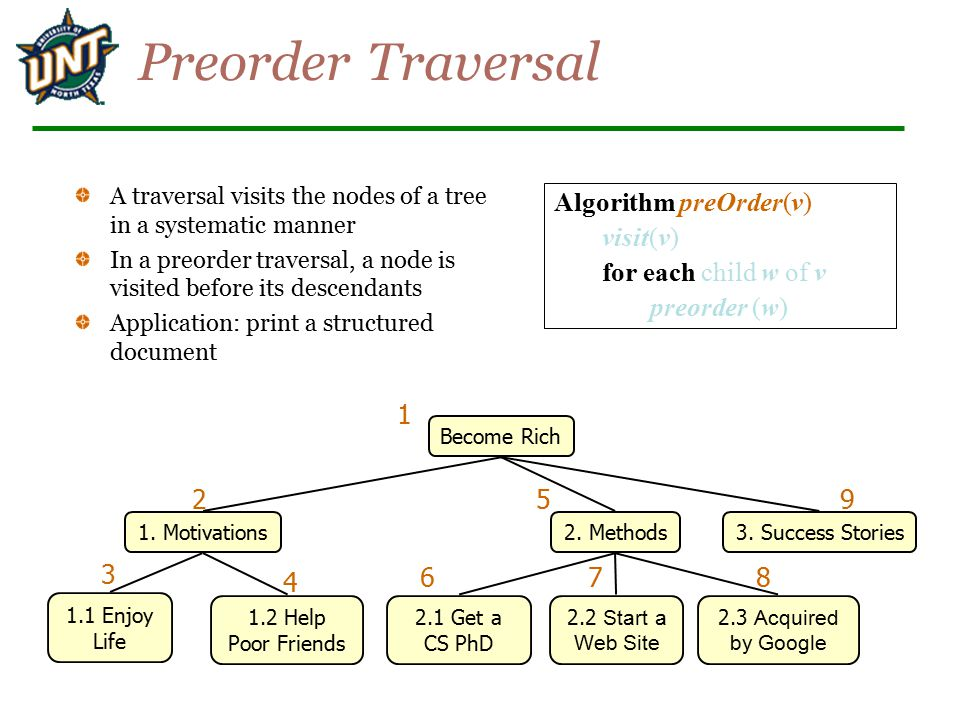 Preorder Traversal A traversal visits the nodes of a tree in a systematic manner In a preorder traversal, a node is visited before its descendants Application: print a structured document Become Rich 1.