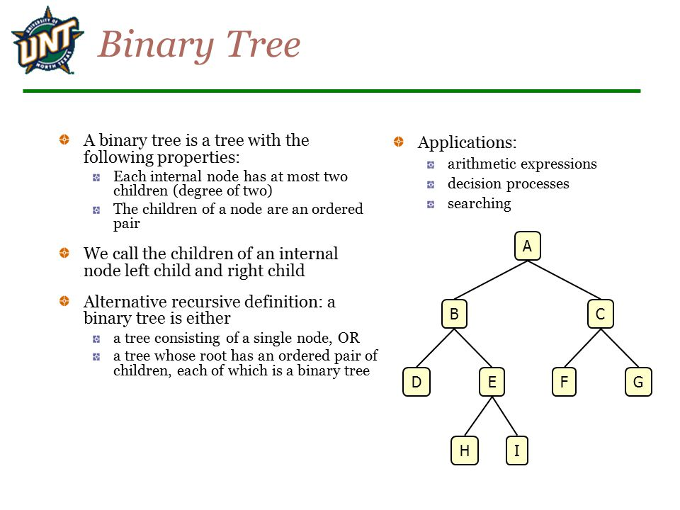 Binary Tree A binary tree is a tree with the following properties: Each internal node has at most two children (degree of two) The children of a node