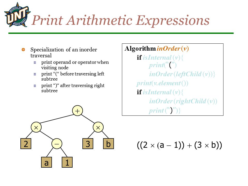 """Print Arithmetic Expressions Specialization of an inorder traversal print operand or operator when visiting node print """"("""" before traversing left subt"""