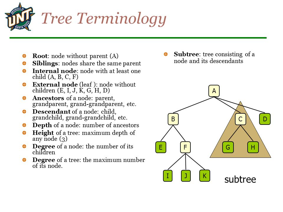 subtree Tree Terminology Root: node without parent (A) Siblings: nodes share the same parent Internal node: node with at least one child (A, B, C, F) External node (leaf ): node without children (E, I, J, K, G, H, D) Ancestors of a node: parent, grandparent, grand-grandparent, etc.