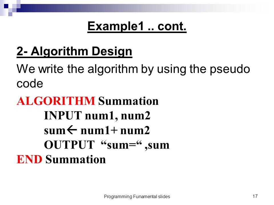 Programming Funamental slides17 Example1..cont.