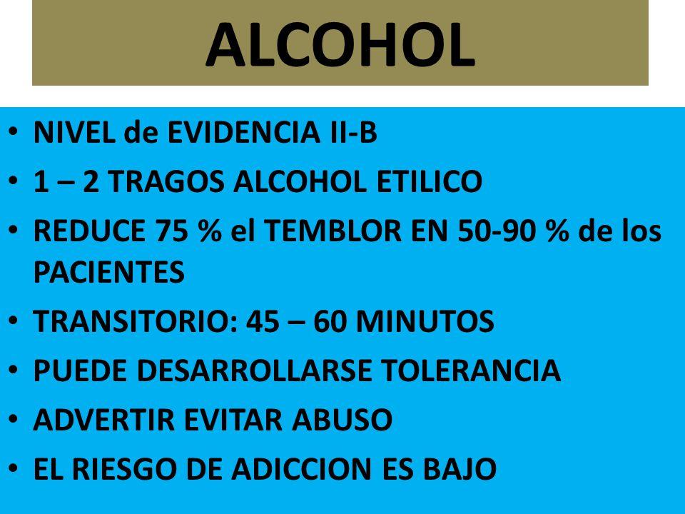 ALCOHOL NIVEL de EVIDENCIA II-B 1 – 2 TRAGOS ALCOHOL ETILICO REDUCE 75 % el TEMBLOR EN 50-90 % de los PACIENTES TRANSITORIO: 45 – 60 MINUTOS PUEDE DESARROLLARSE TOLERANCIA ADVERTIR EVITAR ABUSO EL RIESGO DE ADICCION ES BAJO
