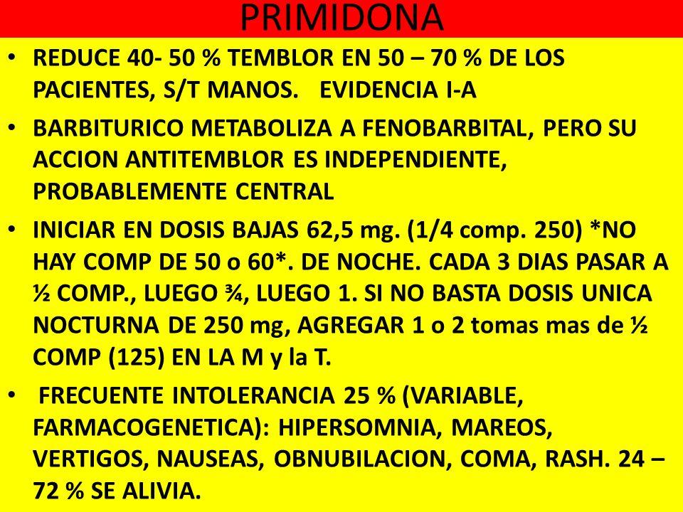 PRIMIDONA REDUCE 40- 50 % TEMBLOR EN 50 – 70 % DE LOS PACIENTES, S/T MANOS.