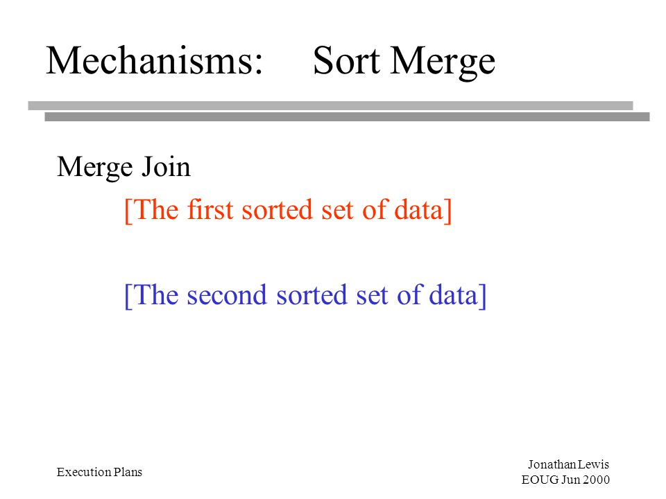 Jonathan Lewis EOUG Jun 2000 Execution Plans Mechanisms:Sort Merge Merge Join [The first sorted set of data] [The second sorted set of data]