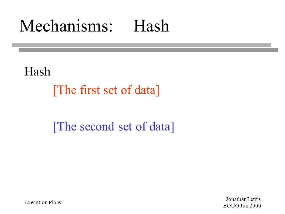 Jonathan Lewis EOUG Jun 2000 Execution Plans Mechanisms:Hash Hash [The first set of data] [The second set of data]