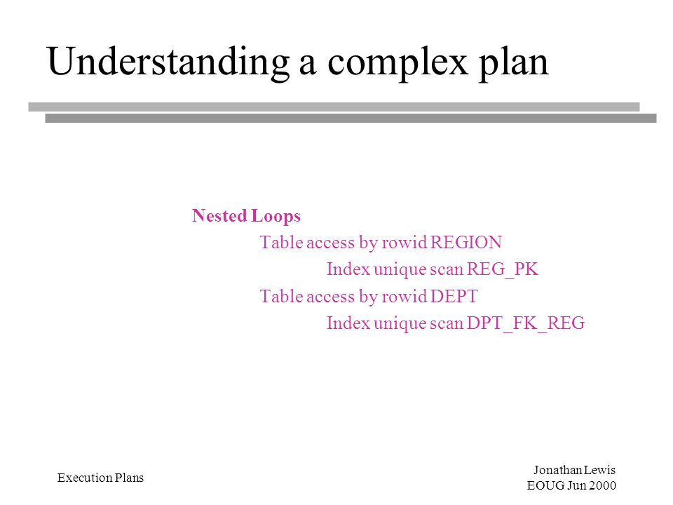 Jonathan Lewis EOUG Jun 2000 Execution Plans Understanding a complex plan Nested Loops Table access by rowid REGION Index unique scan REG_PK Table access by rowid DEPT Index unique scan DPT_FK_REG