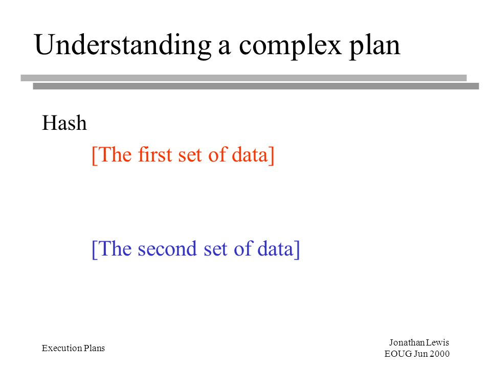 Jonathan Lewis EOUG Jun 2000 Execution Plans Understanding a complex plan Hash [The first set of data] [The second set of data]