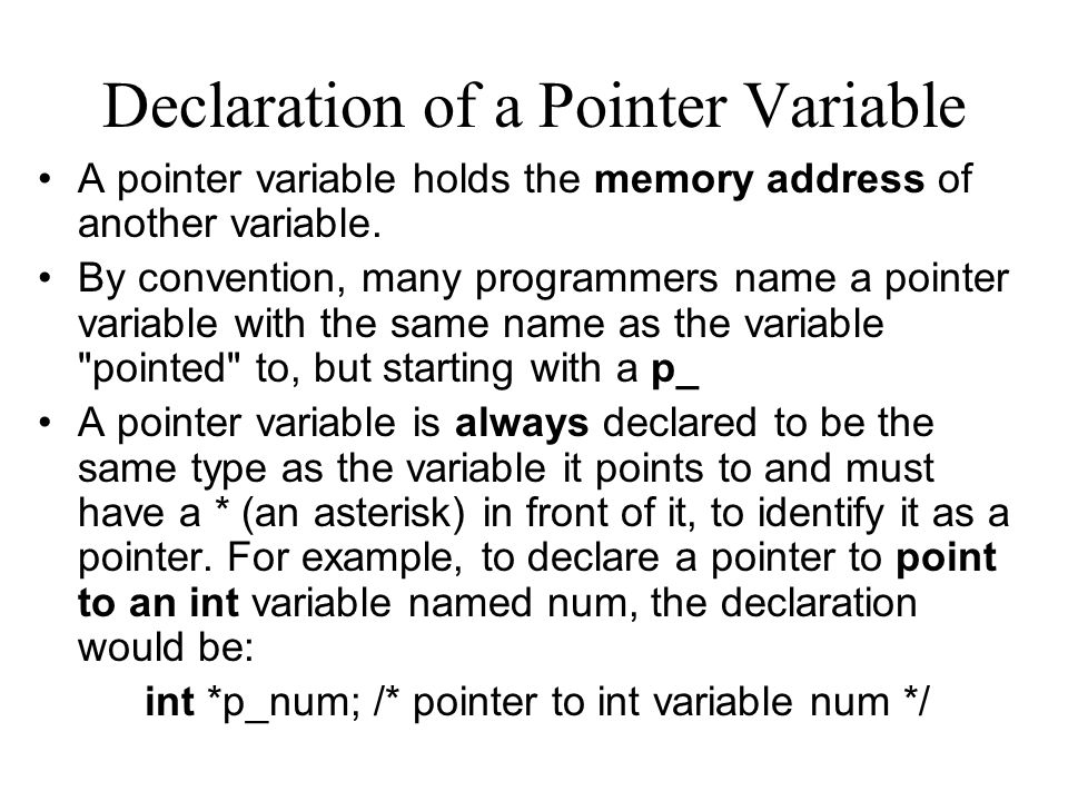 Declaration of a Pointer Variable A pointer variable holds the memory address of another variable.