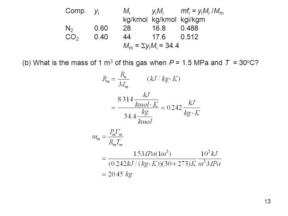 13 Comp. y i M i y i M i mf i = y i M i /M m kg/kmolkg/kmol kgi/kgm N 2 0.60 28 16.8 0.488 CO 2 0.40 44 17.6 0.512 M m =  y i M i = 34.4 (b) What is