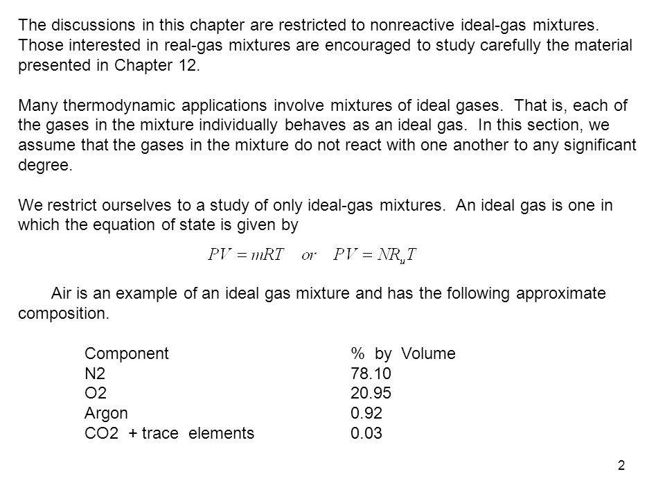2 The discussions in this chapter are restricted to nonreactive ideal-gas mixtures. Those interested in real-gas mixtures are encouraged to study care