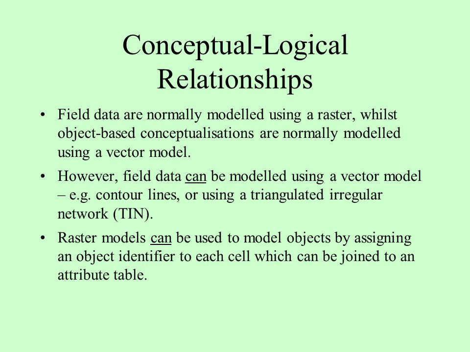 Conceptual-Logical Relationships Field data are normally modelled using a raster, whilst object-based conceptualisations are normally modelled using a