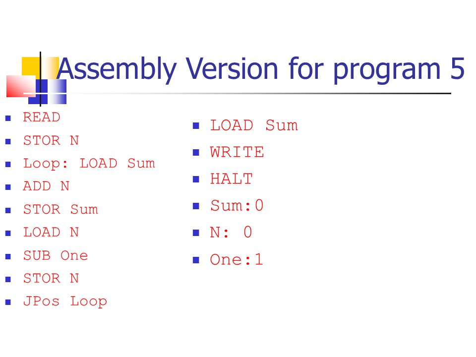 Assembly Version for program 5 READ STOR N Loop: LOAD Sum ADD N STOR Sum LOAD N SUB One STOR N JPos Loop LOAD Sum WRITE HALT Sum:0 N: 0 One:1
