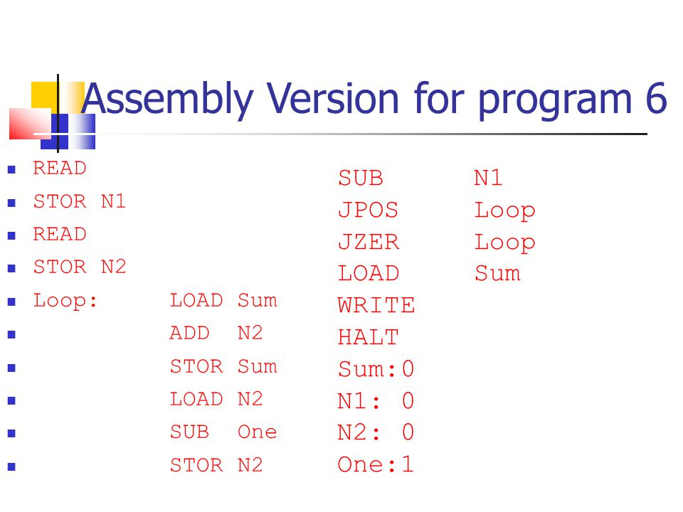 Assembly Version for program 6 READ STOR N1 READ STOR N2 Loop: LOAD Sum ADDN2 STOR Sum LOAD N2 SUB One STOR N2 SUBN1 JPOS Loop JZER Loop LOAD Sum WRIT