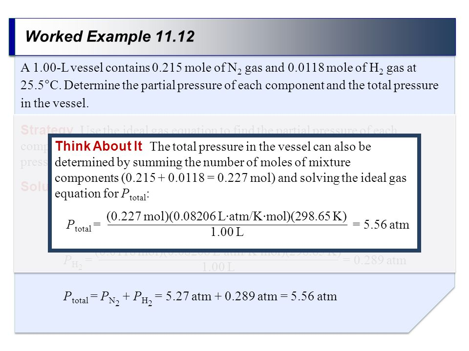 Worked Example 11.12 Strategy Use the ideal gas equation to find the partial pressure of each component of the mixture, and sum the two partial pressu