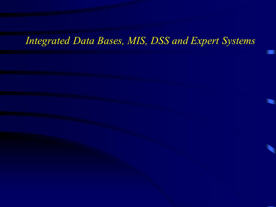 Integrated Data Bases, MIS, DSS and Expert Systems