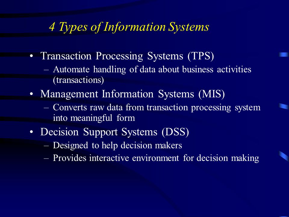 Transaction Processing Systems (TPS) –Automate handling of data about business activities (transactions) Management Information Systems (MIS) –Convert