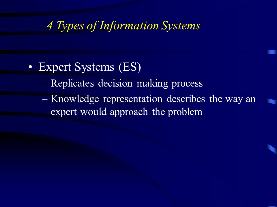 Expert Systems (ES) –Replicates decision making process –Knowledge representation describes the way an expert would approach the problem