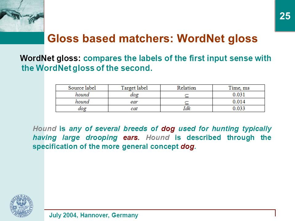 July 2004, Hannover, Germany 25 Gloss based matchers: WordNet gloss WordNet gloss: compares the labels of the first input sense with the WordNet gloss of the second.
