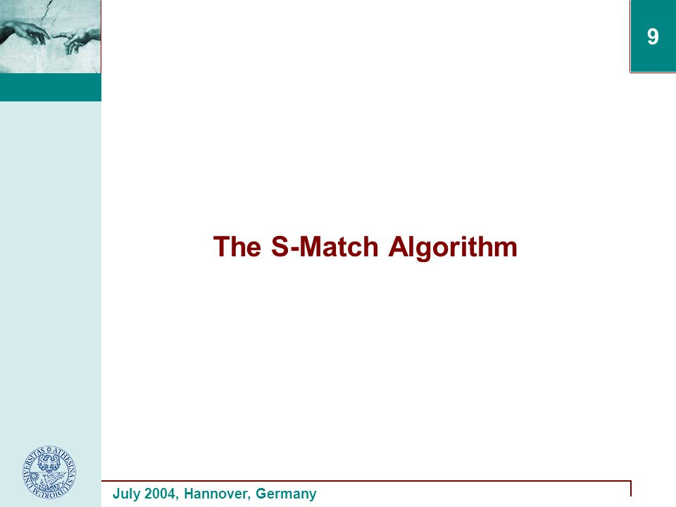 July 2004, Hannover, Germany 9 The S-Match Algorithm