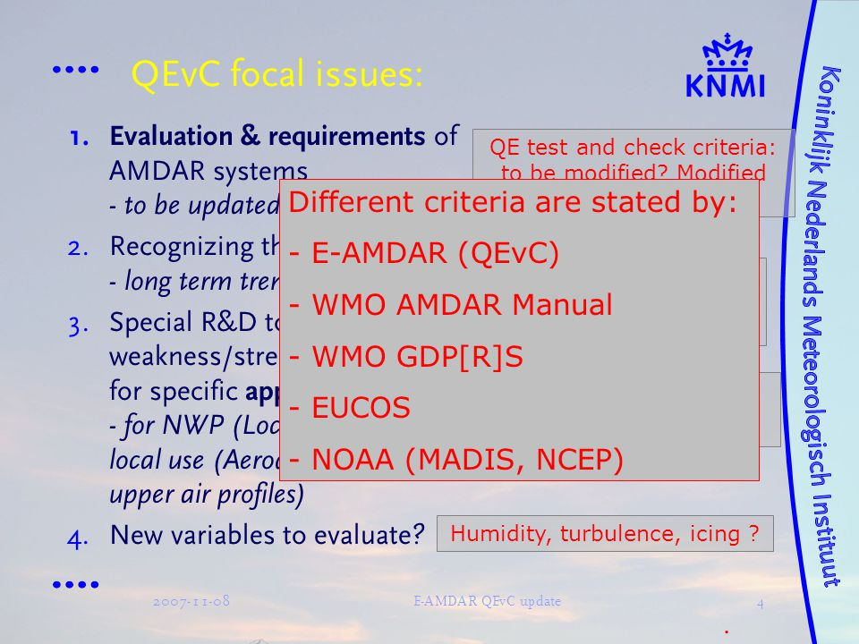 2007-11-08E-AMDAR QEvC update4 QEvC focal issues:  Evaluation & requirements of AMDAR systems - to be updated?  Recognizing the improvements - lon
