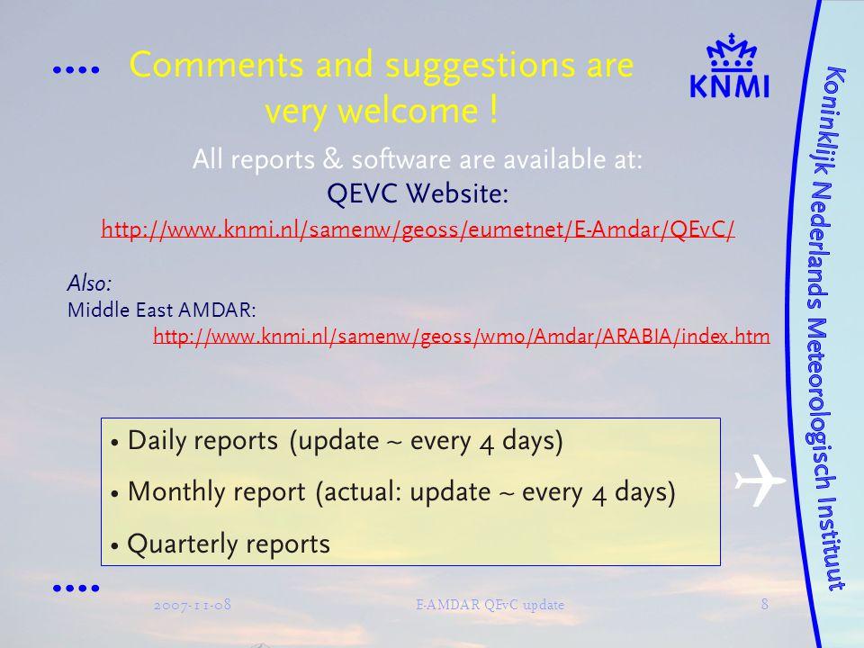 2007-11-08E-AMDAR QEvC update9 Case study: Wind analyses by Cartesian co-ordinates Current situation:  FF = FF(OBS)–FF(MOD)  DD = |DD(OBS)–DD(MOD) | Vector representation:  u = u [OBS] – u [MOD]  v = v [OBS] – v [MOD]