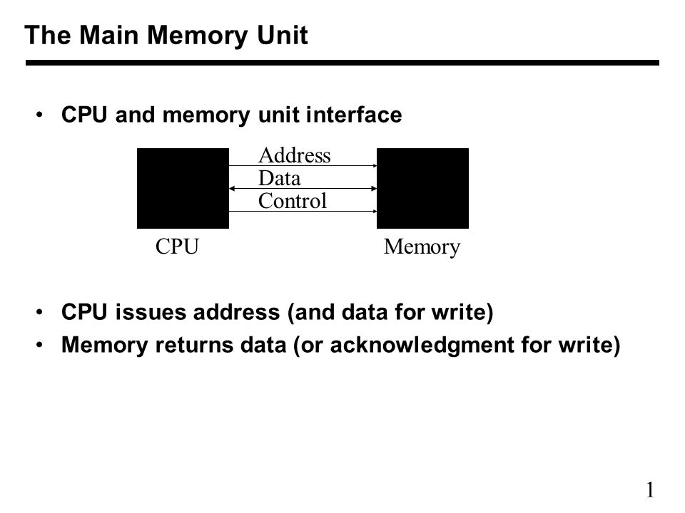 1 CPU and memory unit interface CPU issues address (and data for write) Memory returns data (or acknowledgment for write) The Main Memory Unit Address Data Control CPUMemory