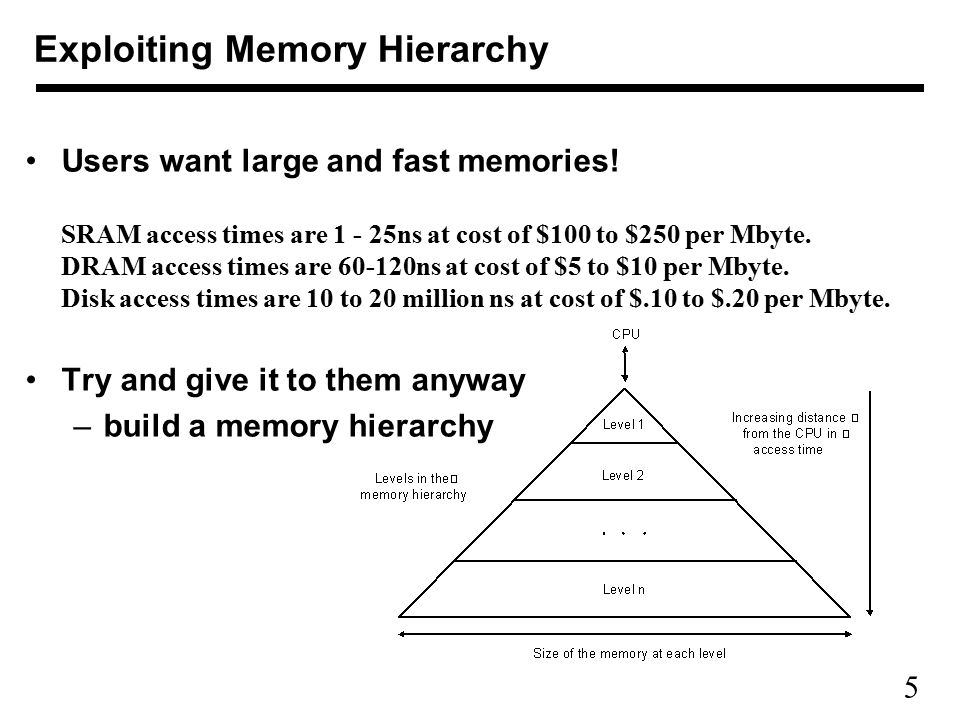 6 Advantage of Memory Hierarchy Decrease cost/bit Increase capacity Improve average access time Decrease frequency of accesses to slow memory