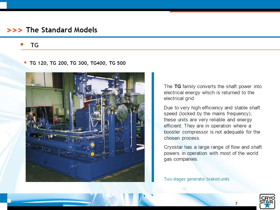 7 >>> The Standard Models  TG The TG family converts the shaft power into electrical energy which is returned to the electrical grid. Due to very hig