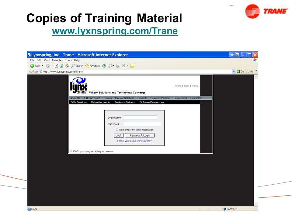 Copies of Training Material www.lyxnspring.com/Trane