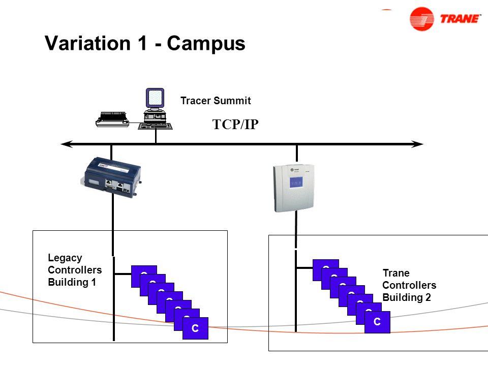Variation 1 - Campus TCP/IP C C C C C C C Tracer Summit Trane Controllers Building 2 C C C C C C C Legacy Controllers Building 1