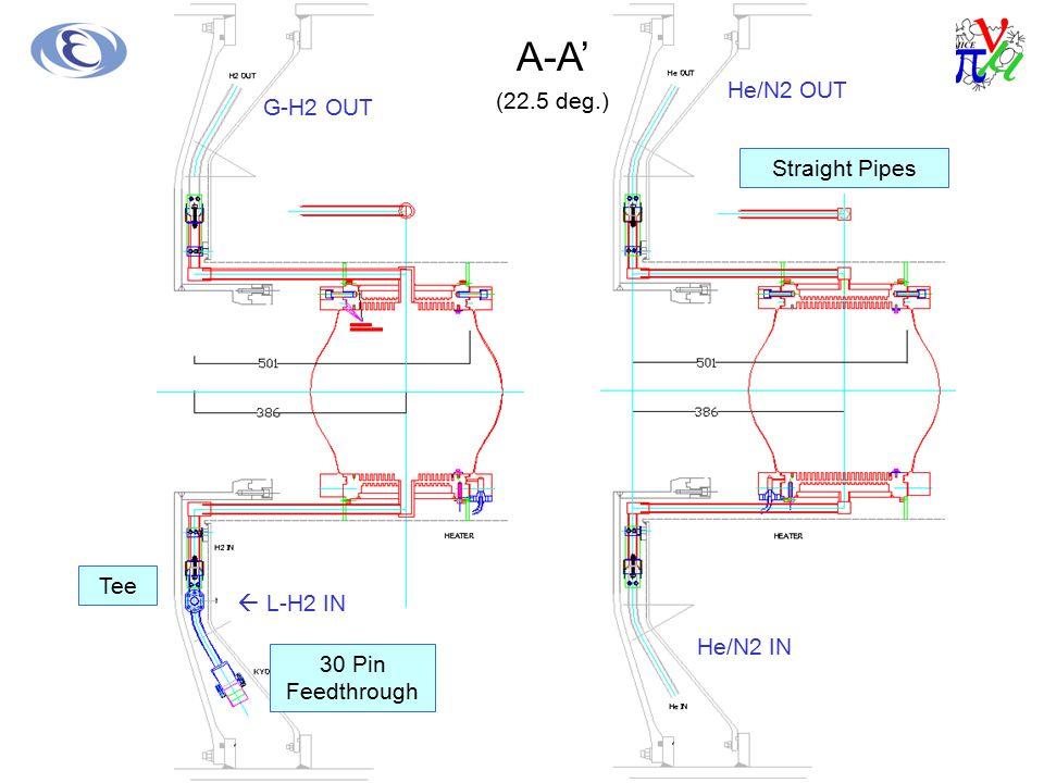 A-A' (22.5 deg.) G-H2 OUT  L-H2 IN He/N2 OUT He/N2 IN Straight Pipes Tee 30 Pin Feedthrough