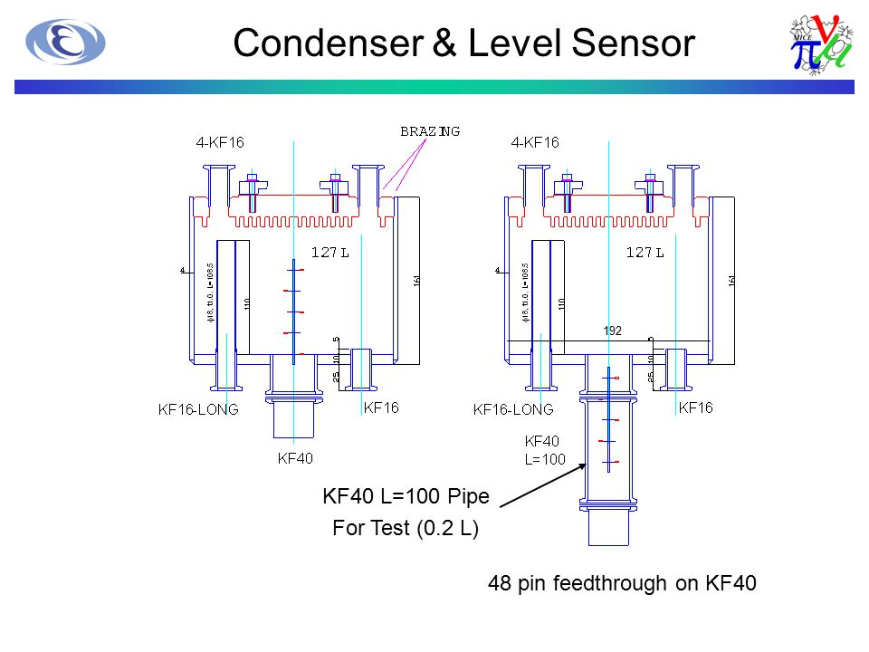 Condenser & Level Sensor KF40 L=100 Pipe For Test (0.2 L) 192 48 pin feedthrough on KF40