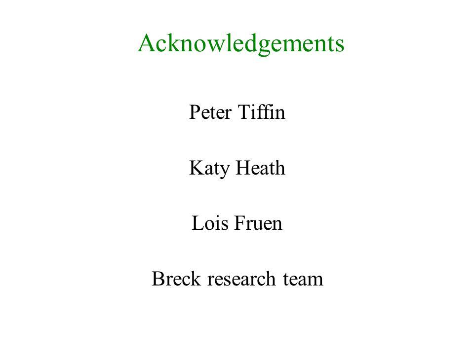Peter Tiffin Katy Heath Lois Fruen Breck research team Acknowledgements
