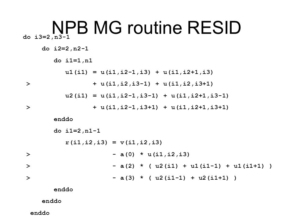 NPB MG routine RESID do i3=2,n3-1 do i2=2,n2-1 do i1=1,n1 u1(i1) = u(i1,i2-1,i3) + u(i1,i2+1,i3) > + u(i1,i2,i3-1) + u(i1,i2,i3+1) u2(i1) = u(i1,i2-1,i3-1) + u(i1,i2+1,i3-1) > + u(i1,i2-1,i3+1) + u(i1,i2+1,i3+1) enddo do i1=2,n1-1 r(i1,i2,i3) = v(i1,i2,i3) > - a(0) * u(i1,i2,i3) > - a(2) * ( u2(i1) + u1(i1-1) + u1(i1+1) ) > - a(3) * ( u2(i1-1) + u2(i1+1) ) enddo