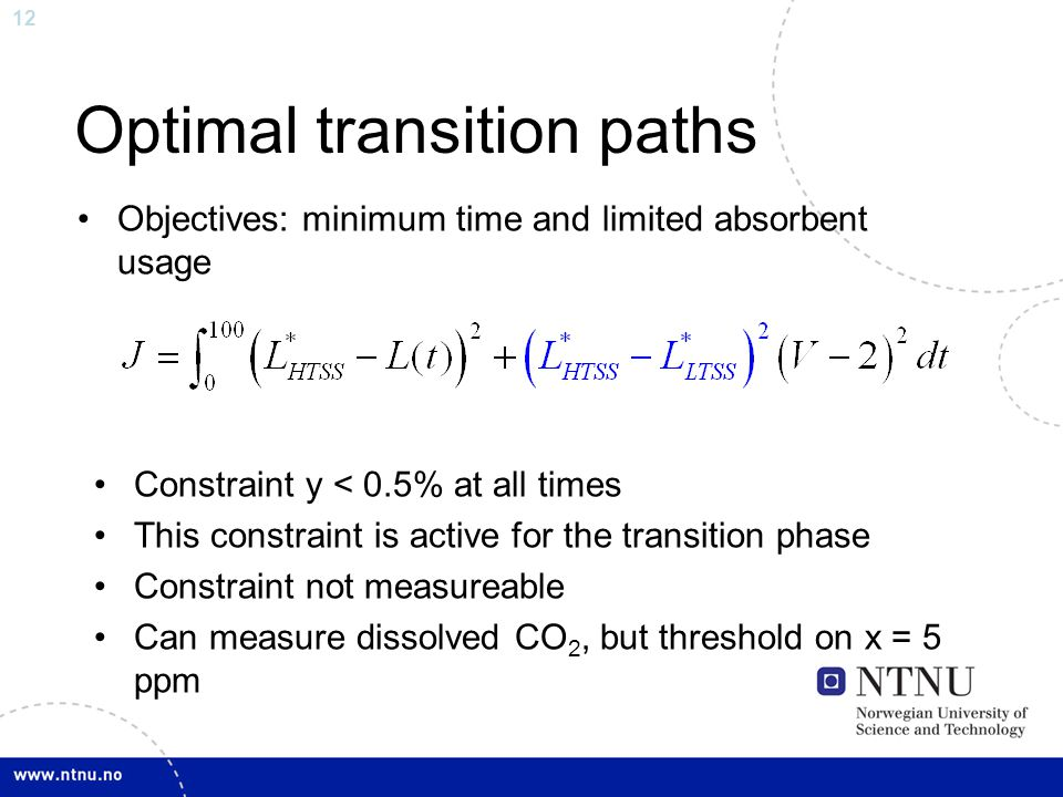 12 Optimal transition paths Objectives: minimum time and limited absorbent usage Constraint y < 0.5% at all times This constraint is active for the tr