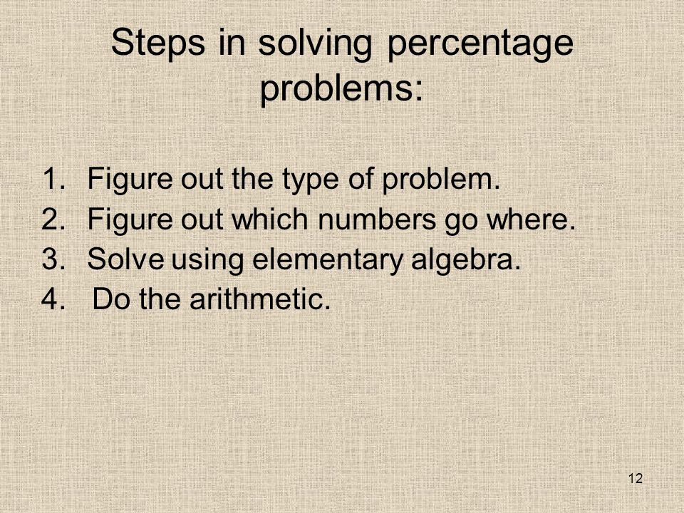 12 Steps in solving percentage problems: 1.Figure out the type of problem.