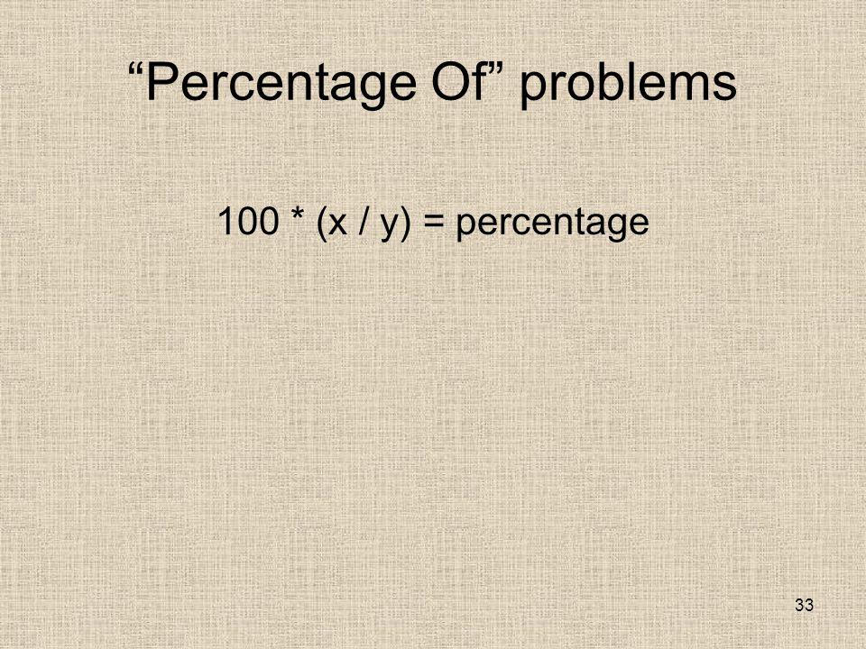 33 Percentage Of problems 100 * (x / y) = percentage