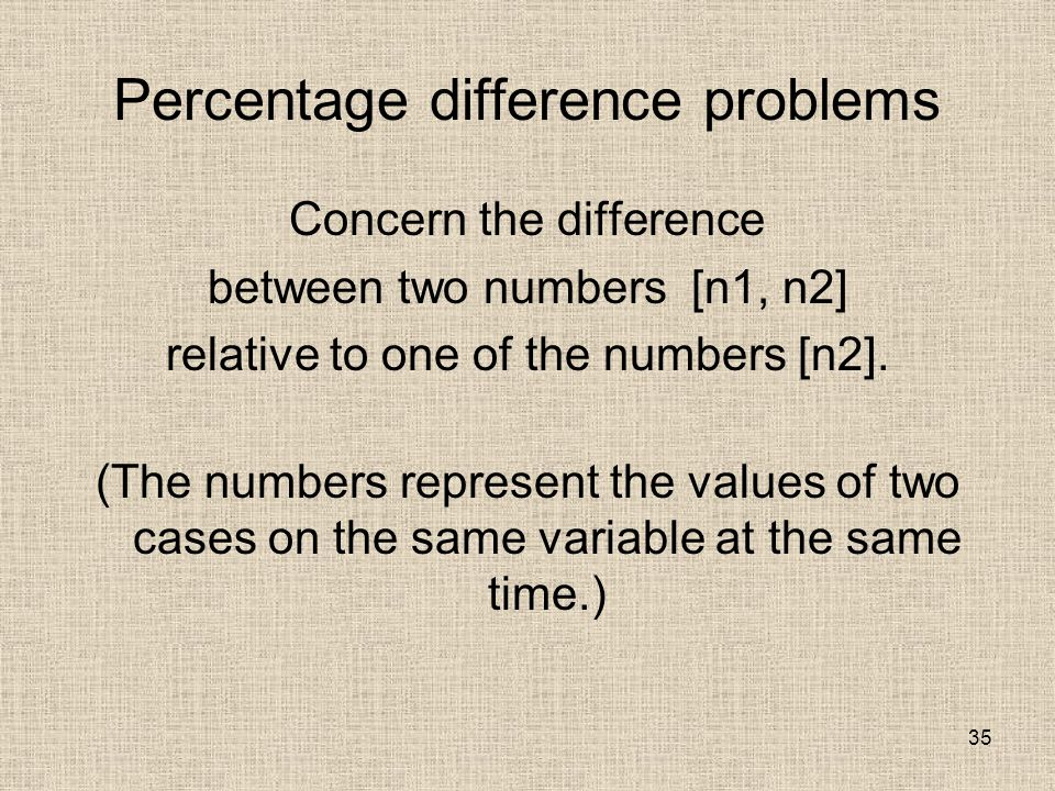 35 Percentage difference problems Concern the difference between two numbers [n1, n2] relative to one of the numbers [n2].