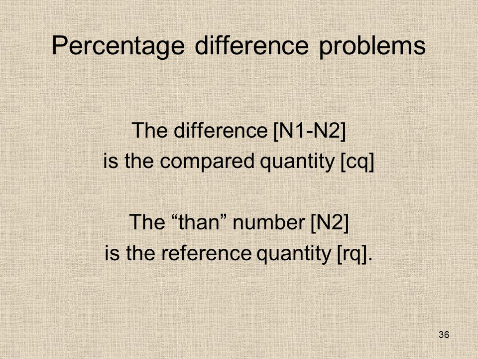 36 Percentage difference problems The difference [N1-N2] is the compared quantity [cq] The than number [N2] is the reference quantity [rq].