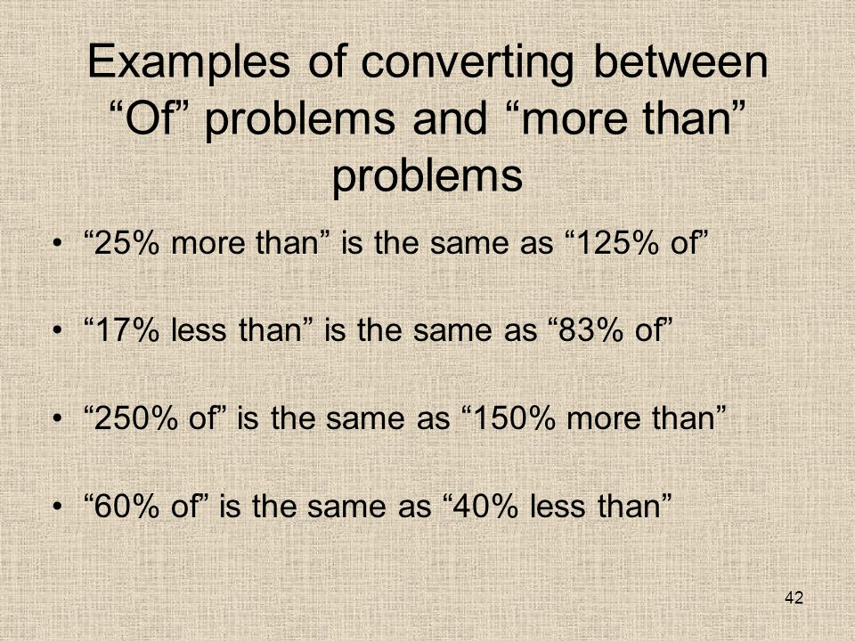 42 Examples of converting between Of problems and more than problems 25% more than is the same as 125% of 17% less than is the same as 83% of 250% of is the same as 150% more than 60% of is the same as 40% less than