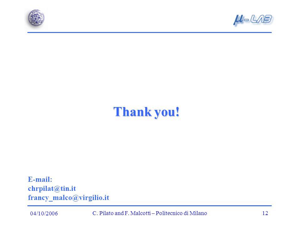 Thank you. E-mail: chrpilat@tin.it francy_malco@virgilio.it C.