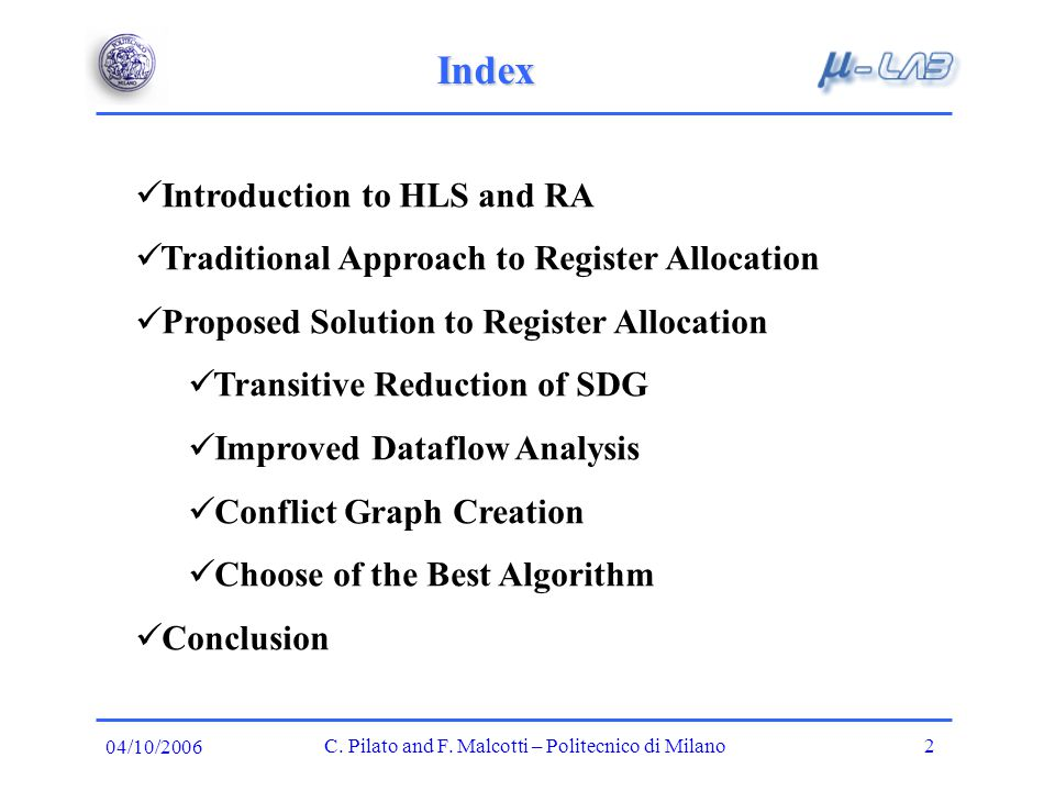 Introduction to HLS C.Pilato and F.