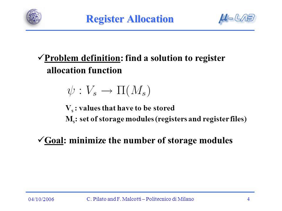 Register Allocation C. Pilato and F.