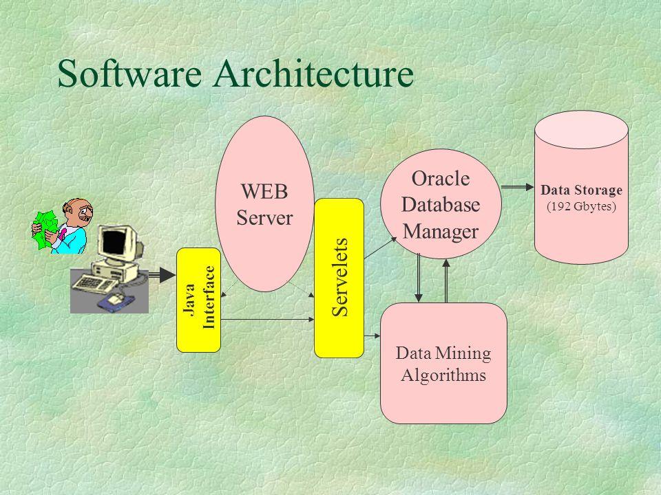 Software Architecture WEB Server Oracle Database Manager Data Mining Algorithms Java Interface Servelets Data Storage (192 Gbytes)