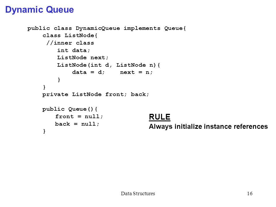 Data Structures16 Dynamic Queue public class DynamicQueue implements Queue{ class ListNode{ //inner class int data; ListNode next; ListNode(int d, ListNode n){ data = d; next = n; } private ListNode front; back; public Queue(){ front = null; back = null; } RULE Always initialize instance references