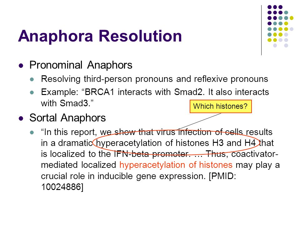 """Anaphora Resolution Pronominal Anaphors Resolving third-person pronouns and reflexive pronouns Example: """"BRCA1 interacts with Smad2. It also interacts"""