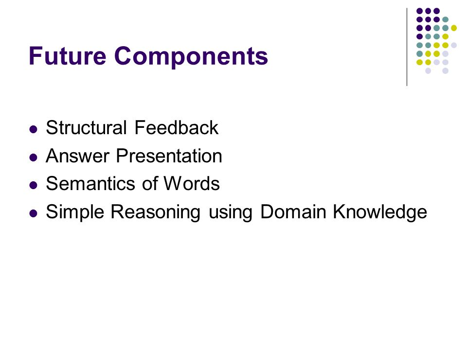 Future Components Structural Feedback Answer Presentation Semantics of Words Simple Reasoning using Domain Knowledge