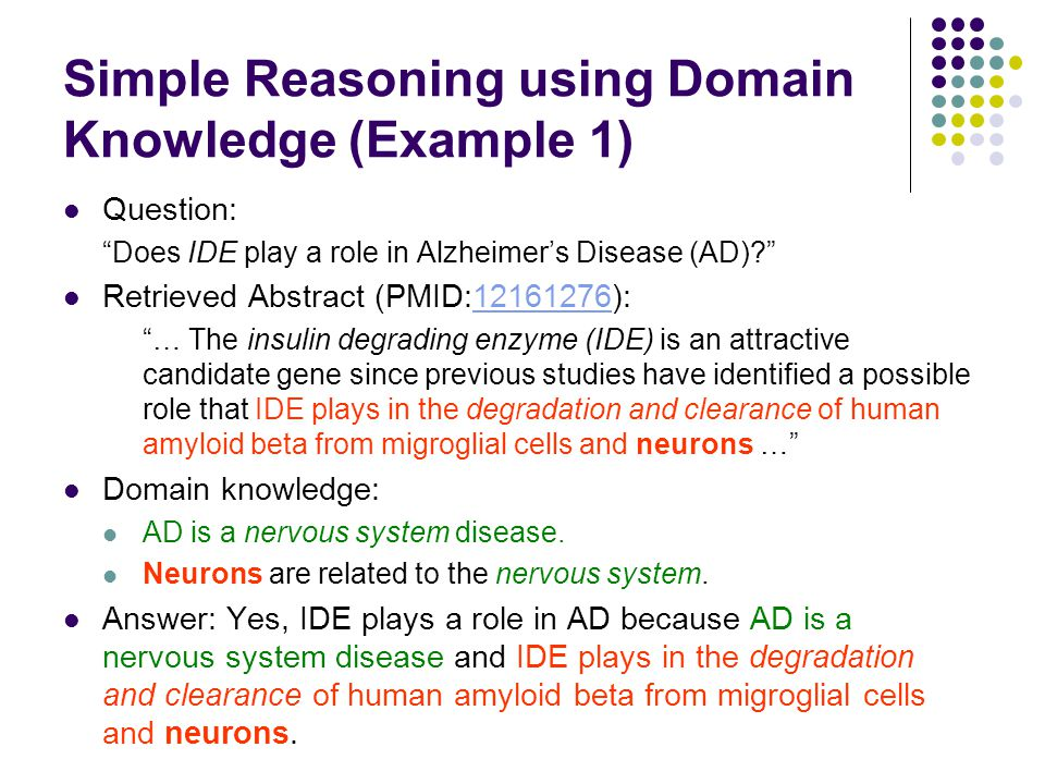 """Simple Reasoning using Domain Knowledge (Example 1) Question: """"Does IDE play a role in Alzheimer's Disease (AD)?"""" Retrieved Abstract (PMID:12161276):1"""